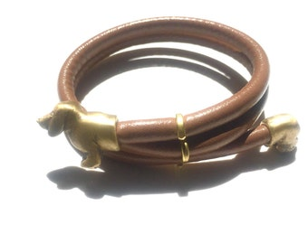 Dachshund Bracelet - Brass and Faux Leather Wrap