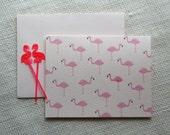 Pink Flamingo Illustrated Folded Blank Handmade Stationery Set