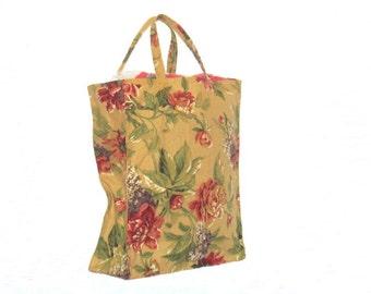 Shopping Bags, Canvas,  reusable, gold floral