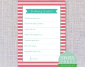 Print Your Own Birthday Wish Cards - Pink & Teal - Stripes - Baby Book Keepsake - Party Game