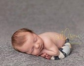 newborn boy pants with pockets (Xavier) - photography prop - blue, navy, cream, stripes, chambray, cargo pants
