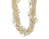 Vintage Pearl Necklace Multi Strand Twisted Rope Mid Century 1960s Glamorous Large Statement Wedding Ivory Gold