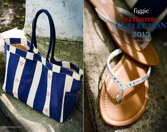 4TH OF JULY COLLECTION Hand-painted Tote Bag and Sandals, Patriotic Collection 2015 by Figgie