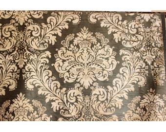 Olive N Gold Glory Damask - Burnout Velvet on Fancy Fabric