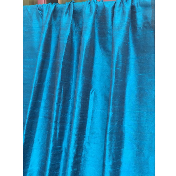 Peacock Blue 100 Percent Pure Silk Dupioni Grommet Blackout