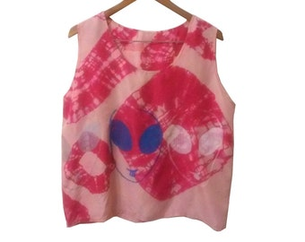 90s Pink Silk Tank Top Upcycled Tie Dyed and Screenprinted with Alien Happy Face in 3 Colors size Large