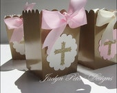 Pink And Gold, Baptism Party Favor Box, Girls Communion, Christening, Ivory Bow, Glitter Cross, Dessert Table Supply, Popcorn Box, Set Of 20