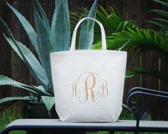 Personalized Custom Monogram Large Canvas Tote Bag, Bridesmaid Bag, Farmers Market Bag, Beach Bag, Wedding Bag, Wedding Welcome Bag