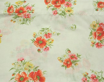 Vintage Muslin Flower Bouquets Sheet Marvelaire by Springmaid Double Flat