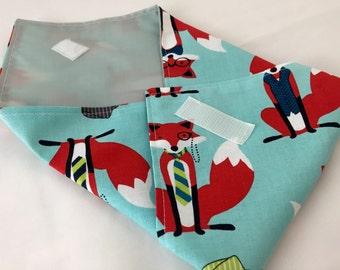 Reusable Sandwich Wrap Bag - Dapper Foxes in Aqua  -  Ready To Ship