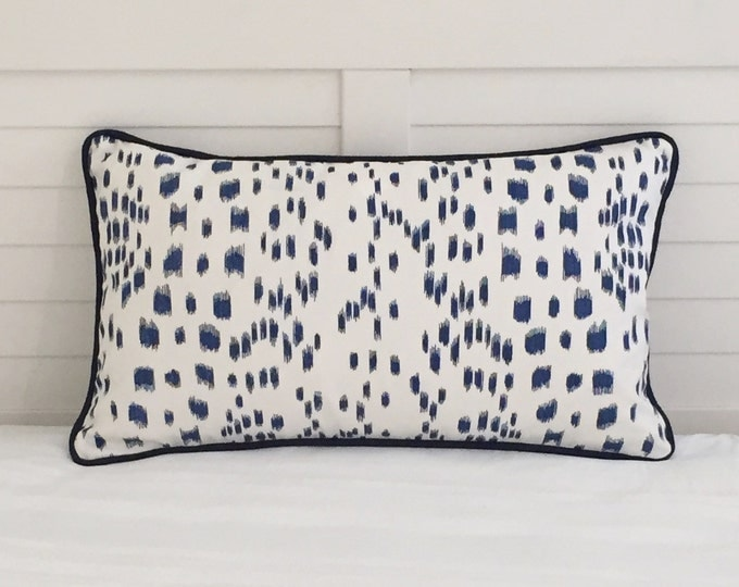 Brunschwig and Fils Les Touches Blue Animal Print Designer Pillow Cover with Your Choice of  Piping  Color - Square, Lumbar and Euro Sizes