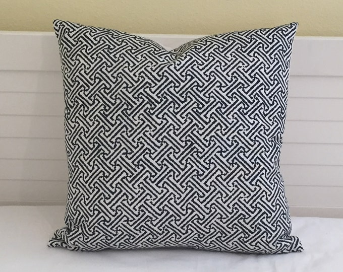 Quadrille China Seas Java Java in Navy and White Indoor Outdoor Designer Pillow Cover