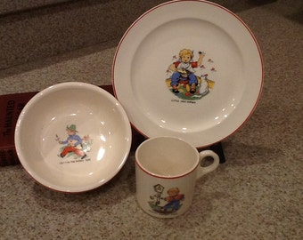 Vintage Nursery Rhyme Set of 3 Child's Dishes - Plate, Bowl, Cup