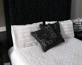 Black abstract modern pillows - set of two - dollhouse miniature