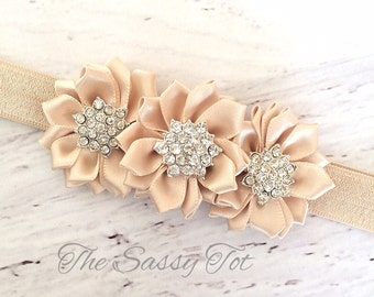Champagne Headband, Baby Girl Headband, Newborn Baby Girls, Champagne Headbands