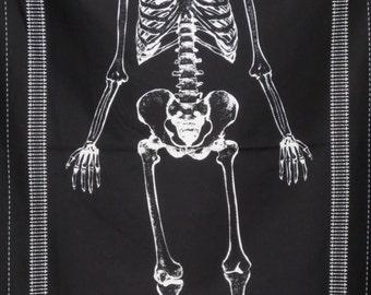 White on Black Glow in the Dark Skeleton Panel Print Pure Cotton Fabric--One Panel