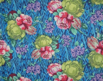 Bright Floral on Blue Ikat Print Pure Cotton Voile Fabric--One Yard
