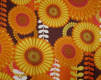 Dramatic Orange and Yellow Sunflower Print Pure Silk Surah Fabric--One Yard