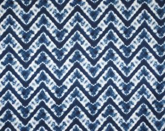 REMNANT--Indigo Blue and White Tie Dye Zig Zag Print Pure Cotton Fabric--7/8 Yard