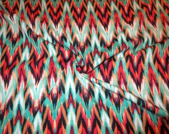 Red and Turquoise Ikat Print Cotton/Lycra Jersey Fabric--One Yard