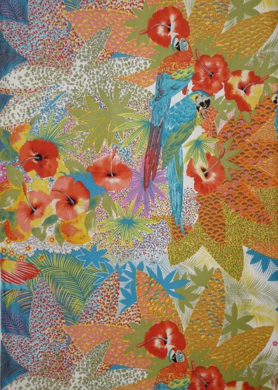 Fabulous Tropical Parrot Print Pure Cotton Fabric One