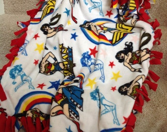 "Wonder Woman Girl Superhero tie fleece blanket / throw 43""x55"" (child size)"