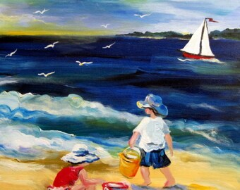 Summer Beach Original Painting Wall art oil painting canvas painting landscape painting home decor gift for her 16 x 20 Art by Elaine Cory