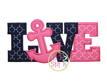 Anchor Love Applique Design For Machine Embroidery INSTANT DOWNLOAD now available