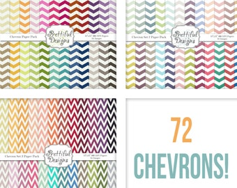 Chevron Digital Paper Pattern Background 72 Papers including Ombre