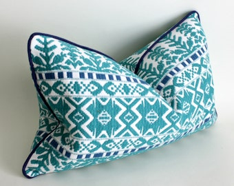 "12x20"" lumbar Aztec Pillow Cover, Throw Pillow, Turquoise Pillow, Decorative Pillow Cover"