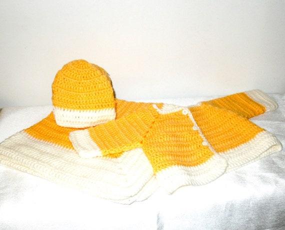 Sale, Baby Blanket Set, Boy, Girl, Sweater, Hat, Blanket Set, Yellow, White, (6-9 months)