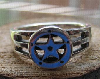 Vintage Sterling Silver Men's or Women's Pentagram Symbol Ring Size 9