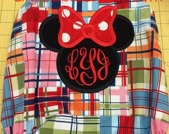 Baby girl bubble in madras with a minnie mouse applique