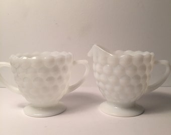 Vintage Milkglass Sugar Bowl and Creamer Bubble Glass