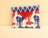 """Red and Blue Lobsters Quilted Fabric Mini Snap Bag Purse Handbag 5-1/4"""" x 4-1/4"""""""