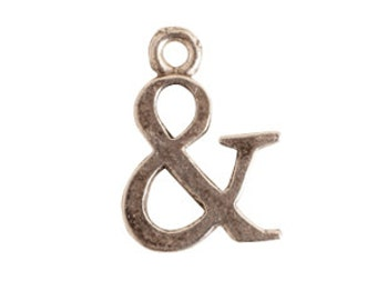 Antique Silver Ampersand Initial Charm (5 per pack)