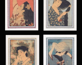 4 Blank Note Cards of Japanese Women gccs016