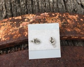 Sterling Silver Grape Leaf Stud Earrings