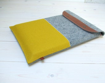 "13"" MACBOOK PRO/AIR case with fold closure in yellow and grey felt laptop cover sleeve"