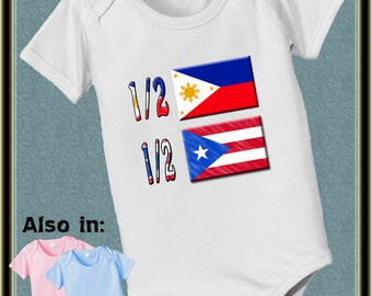 1/2 Puerto Rican half 1/2 Filipino Flag  country nationality flags baby infant bodysuit baby bodysuit, baby shower gift