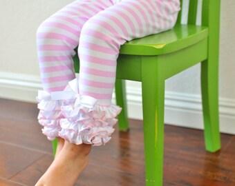 Light Pink & White Stripe Leggings with Full Ruffles / Girls Leggings