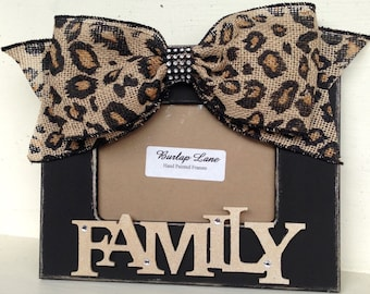 FAMILY Black 4x6 Frame with Cheetah Bow