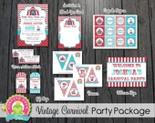 Carnival Party Package / Carnival Invitation / Vintage Carnival Party / Carnival Birthday Invitation / Circus Party / Circus Birthday