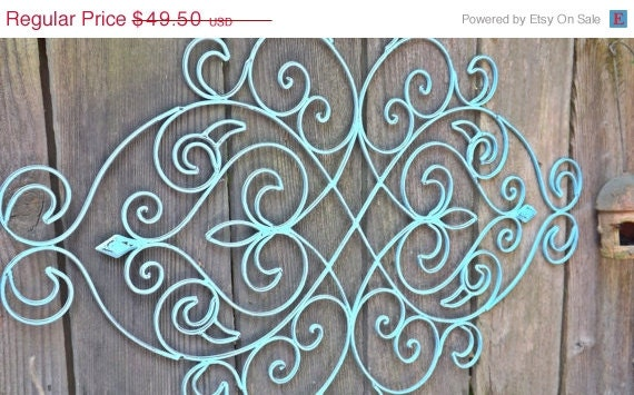 SUMMER SALE Fleur De Lis / Wrought Iron Headboard By