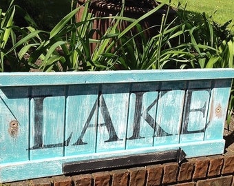 Lake Sign Beach House Decor Extra Large Weathered Wood Sign With Movable Arrow by CastawaysHall