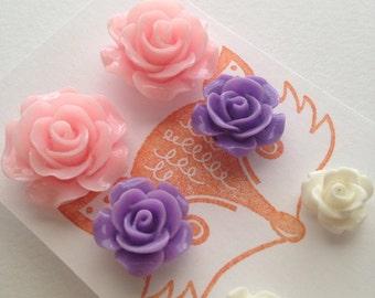 Flower Post Earring Set, three pair set of flower studs - roses. Pink, purple, white.