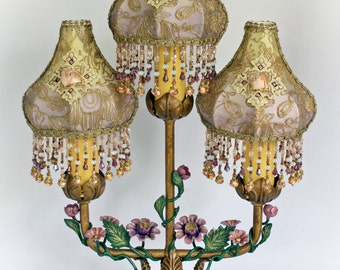 SOLD! Flower Tole Vintage Lamp Candelabra - Hand-sewn, Hand-beaded Shades - MAGNIFICENT