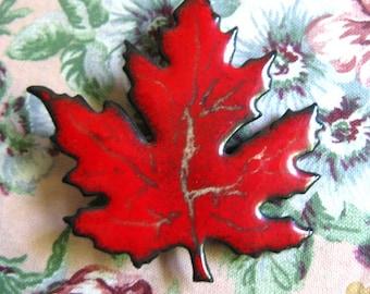 Vintage 1980s Brooch Art Modernist Red Maple Leaf Enamel Brooch
