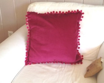 Magenta Pink Velvet Pillow cover with Magenta Pink Pom Trim
