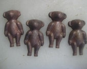 Vintage Teddy Bear Stampings, Rare 1940s Old Stock Brass Jewelry Finding, Decorative Trim Embellishment, 26x14mm, One piece